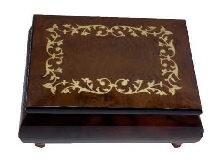 Walnut Scroll Musical Jewellery Box MAD415TLBRL